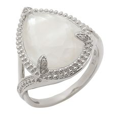 Kristian Alfonso Sterling Silver Diamond, Mother of Pearl & White Quartz Doublet Ring