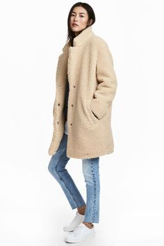 Short pile coat - Beige - Ladies | H&M GB 1