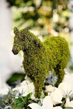 moss horse arrangement for a derby party