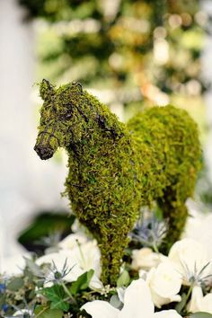 moss horse arrangement for a derby party