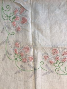 Preworked Vintage Table Topper, Floral Embroidery Cloth & Pattern, Vintage Home Decor, Stamped Ecru Linen Dresser Scarf Embroidery Project by ReTHINKinIt on Etsy