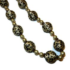 Chunky Leopard Print Fabric Beaded Necklace by CloudNineDesignz, $25.00