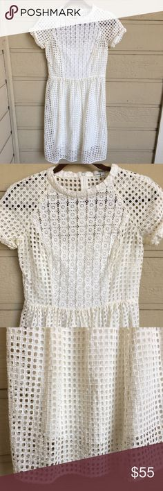 "Madewell Eylet Hideaway Dress in White A beautiful summer dress for every occasion! EUC. Has a nice soft layer so you don't have to layer. Approx measurements: 14.5"" waist, 16"" bust, 39"" total length. Madewell Dresses Midi"