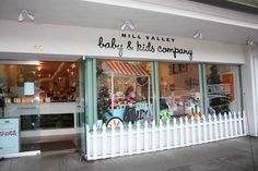 Mill Valley Baby and Kids store front. The picket fence is cute.