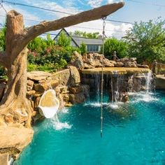 Looking for a fun pool feature other than a diving board or slide? Adding a pool rope swing is a growing trend in swimming pool design. Backyard Pool Landscaping, Backyard Pool Designs, Swimming Pools Backyard, Swimming Pool Designs, Swimming Pool Slides, Lap Pools, Indoor Pools, Landscaping Supplies, Tropical Landscaping