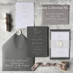 Items similar to Semi Custom Invitation Suite - Jasmine Collection No. 3 on Etsy Invitation Suite, Custom Invitations, Invitation Cards, Wood Table Numbers, Addressing Envelopes, Belly Bands, Save The Date Cards, Design Process, Be Yourself Quotes
