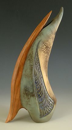 Feathered Friend: Jan Jacque combines ceramics with wood...