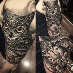 Owl Tattoo, Watch and Chain Tattoo, Realistic Tattoo,Black and Grey, Bild Tattoos, Hot Tattoos, Black Tattoos, Body Art Tattoos, Tattoos For Guys, Tatoos, Vietnam Tattoo, Baby Owl Tattoos, Animal Tattoos