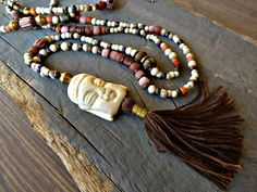 Yoga, meditation long necklace,Buddha necklace, Hippie, Boho, trade beads layering nekclace, tassel necklace. #Handmade unique #jewelry for #unique people. #BeadStoneNSkin is an attitude of #life and #style