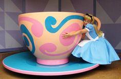 Alice loves tea!  Walt Disney World Magic Kingdom Mad Tea Party ride also known as Alice's Tea Party at Tokyo Disney.