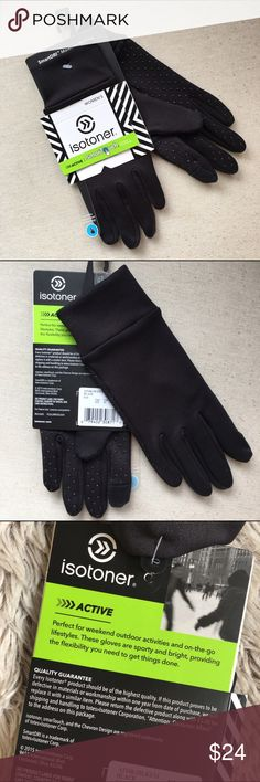Isotoner Active Gloves☃️NWT Brand new Isotoner Active gloves in black. Feature SmarTouch technology. Super soft and flexible with palm grips. Moisture wicking.  Size Small/Medium. Accessories Gloves & Mittens