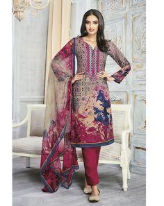 Multi Pashmina Unstitched Suit