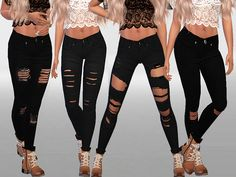 Pinkzombiecupcakes' Winter black ripped jeans collection