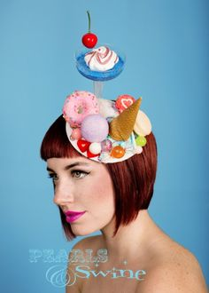 Sugar-Coated – Candy & Cake Fascinator One of a kind, delicious, colourful cocktail, candy, macaroon, ice-cream, candy, donut, lolly pop surreal headpiece. Stitched, painted and glittered by hand. Because millinery should be show stopping and the stuff of dreams and decadence! Attaches with a comb. Perfect for ladies with a sweet tooth, rock n roll brides and Royal Ascot! http://www.pearlsandswine.com