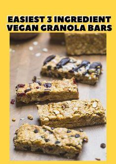 Super easy and delicious 3 ingredient vegan granola bars! Dairy Free Snacks, Vegan Snacks, Easy Snacks, Dairy Free Recipes, Vegan Recipes Easy, Vegan Granola Bars, Chocolate Chip Granola Bars, Cheap Vegan Meals, Quick Vegan Meals