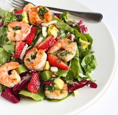Shrimp salad with a hint of fruit! #HealthyEating