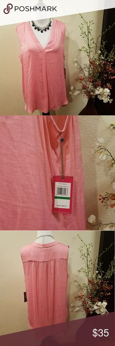 Vince Camuto Pink V-neck Short Sleeve Blouse Large New with tag Vince Camuto Pink V-neck Blouse Color: Pink 100% Polyester Size: Large MSRP: $69  ***Please note that jewelry (necklace)is NOT included in this listing*** Vince Camuto Tops Blouses