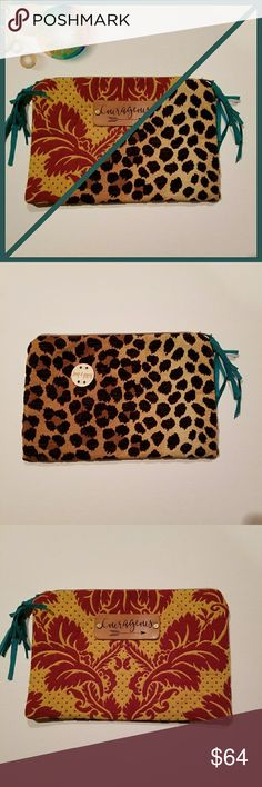 """Keep It Gypsy Cheetah/Tapestry Clutch Keep It Gypsy Cheetah print fabric on one side and tapestry fabric on the other side.  Two looks in one. Measures approximately 12""""x8"""".  Courageous imprinted on leather.  New with tags. Keep it Gypsy Bags Clutches & Wristlets"""