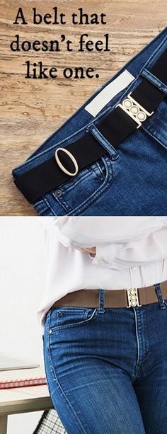 Unbelt is a women's stretch belt that looks great, feels comfortable, and is easy to forget you have on. It's so slim it lies flat, closing the gap between your waistband and you. The size is adjustable and you can actually stick it in the wash if it gets dirty. Whether you want to wear it incognito under a shirt or over a tunic, Unbelt will look (and feel) good.