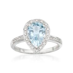 Like wispy clouds and a warm summer sky, this 1.55 carat aquamarine and .10 ct. t.w. diamond ring will put a smile on your face! The pear-shaped aquamarine centerpiece is graced with a sparkling diamond border and 14kt white gold. Treat yourself to this breath of fresh air. Diamond and aquamarine ring. Free shipping & easy 30-day returns. Fabulous jewelry. Great prices. Since 1952.
