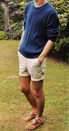 Cable knit sweater + khaki shorts - winter to spring