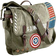 Marvel Marvel Captain America Vintage Army Messenger Bag (87 CAD) ❤ liked on Polyvore featuring bags, messenger bags, logo messenger bag, strap bag, logo bags, pocket bag and courier bags
