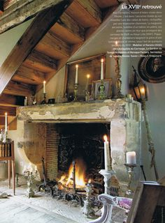 Fireplace... stair case for cottage... soooooooo charming