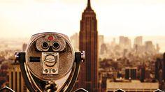 new york fee binoculars empire state building greyscale wide hd wallpaper - WPWide