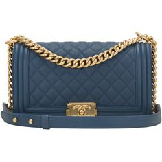 For Sale on - Chanel Old Medium Boy bag of dark blue quilted caviar leather  and antique gold hardware. This Chanel bag is in the classic Boy style with  a ... 644951c55d5