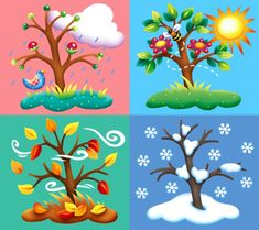 en ingles Four Seasons Tree Counted Cross Stitch Pattern Pre K Lesson Plans, Kindergarten Lesson Plans, Seasons Of The Year, Four Seasons, Weather For Kids, Cold Weather, Month Weather, Diy And Crafts, Crafts For Kids
