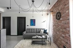 This industrial modern apartment was designed in 2017 by Aida Šniraitė—owner of design studio Authentic Interior. Townhouse Interior, Small Apartment Interior, Design Apartment, Industrial Apartment, Interior Design Studio, Interior Design Services, Red Brick Walls, Appartement Design, Trends