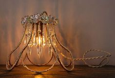 Modern Crystal Cage Table Lamp Vintage Shabby Chic by mysecretlite