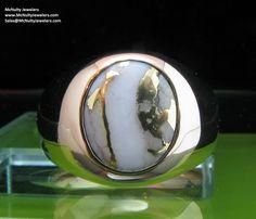 Gold in Quartz yellow gold men's ring.  McNulty Jewelers original design
