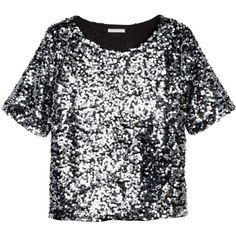 H&M Sequined blouse (2.965 RUB) ❤ liked on Polyvore featuring tops, blouses, shirts, crop tops, crop shirts, sequin blouse, mesh crop top, mesh blouse and short sleeve shirts