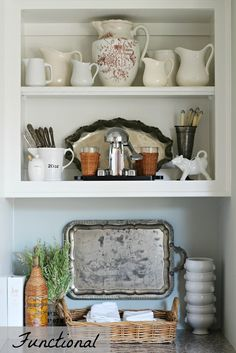 Whiteware Pitcher Collection, Perfect for Contemporary, Modern, and Traditional Home Decor, Antique and Vintage White Pottery Pitchers are one of my l Mantel Styling, Bookcase Styling, Cottage Kitchens, Home Kitchens, Farmhouse Kitchens, Kitchen Styling, Kitchen Decor, Kitchen Ideas, Traditional House