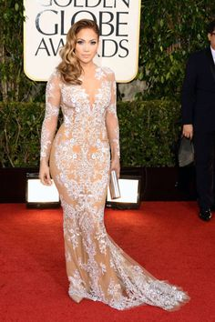 Jennifer Lopez in a sexy, lacy Zuhair Murad number, Golden Globes 2013