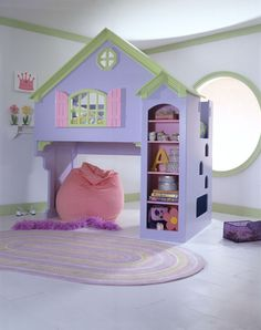 Purple Color For Girls Bedroom Ideas With Unique Design With Small Home Shaped Decoration In Modern Interior Style For Inspiration
