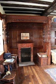 Inglenook in a bedroom, Ightham Mote, Kent.