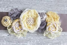 Dream A Little Dream- grey and yellow lace ruffle and rosette maternity, infant or bridal sash