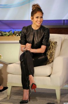 leather jumper and spiked heels. Love Jennifer Lopez's style.