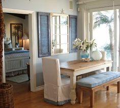 Wall Decor with Interior Shutters for Coastal Style Living: http://www.completely-coastal.com/2014/09/interior-decorating-with-shutters.html
