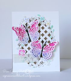 Pam Sparks: Expressions with Heart: Memory Box Harrington Butterflies and more… - 6/16/16.  (MemoryBox: Harrington Butterflies, Asti Butterfly Wingss (or Darla Butterfly works too), Zimmer Oval Background, Calla Oval Wreath).  (Pin#1: Dies/ Stamps: Memory Box.  Pin+: Butterflies...; Background: Dies...).