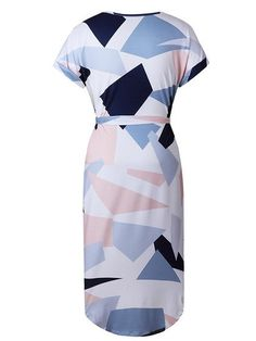 Chicnico Cute Strappy Geometric Multi Color Dress