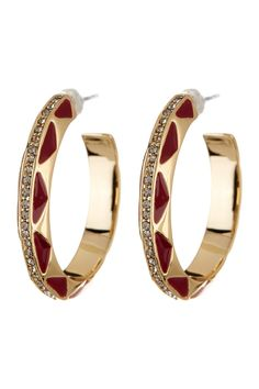 Enamel & Rhinestone Hoop Earrings