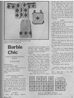 Barbie Clothes Patterns, Crochet Barbie Clothes, Doll Patterns, Knitting Patterns, Crochet Patterns, Crochet Tree, Crochet World, Crochet Edgings, Tiny Dolls