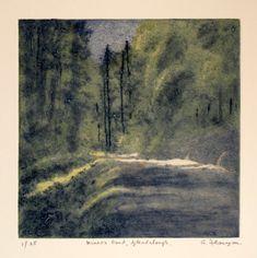 "Carborundum and Drypoint Print - ""Miners Road, Glendalough"""