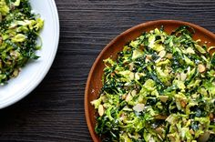 Shredded Kale and Brussels Sprout Salad with Lemon Dressing | http://www.justataste.com/2014/01/shredded-kale-brussels-sprout-salad-lemon-dressing-recipe/