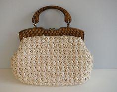Vintage Raffia Handbag / 1960s Pale Blush Nude Crochet Bag with Wood Handle