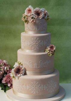 Torte nuziali 2014 - Torta nuziale rosa antico