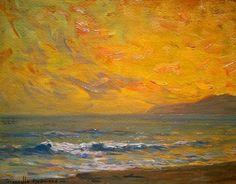 "Granville Redmond (1871-1935) ""Sunset, Santa Monica"" 1919 Oil on Board 9"" x 12"""